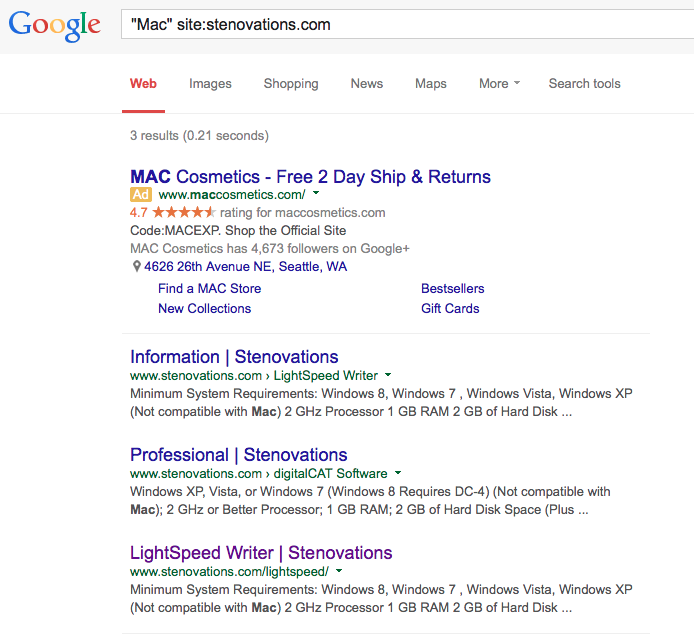 Search for Macs on Stenovations' website