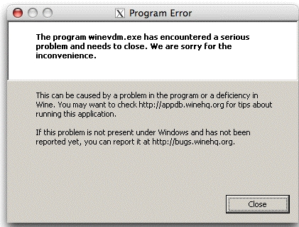 Wine Custom Install Error:  X11